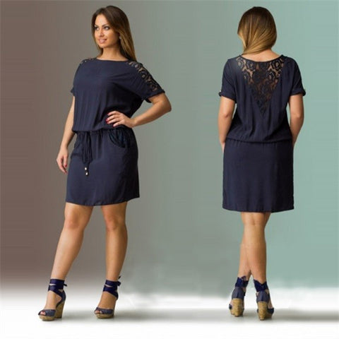 Womens Cute Loose Lace Plus Size Casual Dress