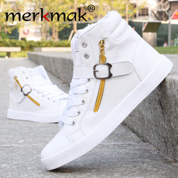 Mens Cool Side Zip High Top Lace Up Sneakers