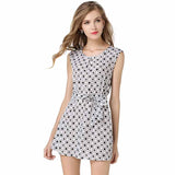 Womens Cute Boho Sleeveless Plaid Casual Slim Party Dress