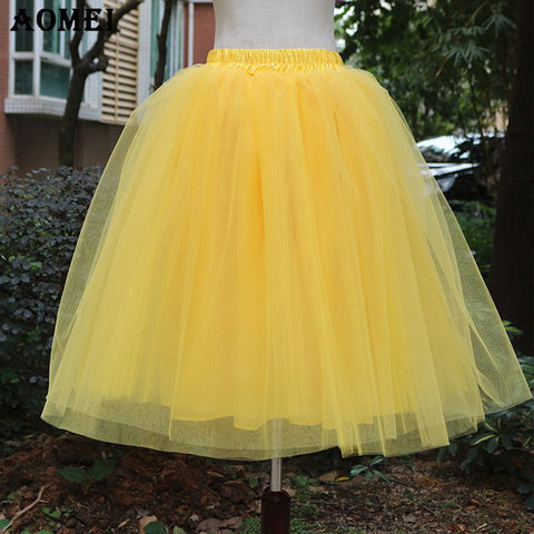 d23e2f55a5 New Puff Women Chiffon Tulle Skirt White faldas High waist Midi Knee ...