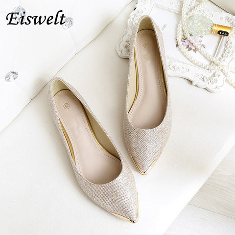 EISWELT New Fashion Women Shinning Flat Shoes Slip On Shoes Women Shallow Mouth Flat Shoes Women Matte Sequins Flats Big Size
