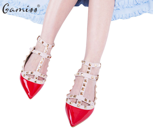 Gamiss  Women Rivet Flats Shoes Metal Ankle Strap Women Point Toe Rivets Studded Ballerinas Size T Straps Rivets Sandals Shoes