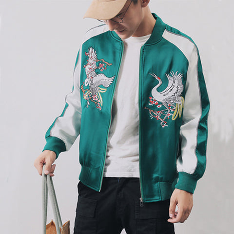 f56765c78a Chinese Style Cranes Flower Embroidered Souvenir Jacket Men Women ...