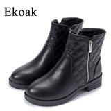 Ekoak New 2016 Fashion Autumn Winter Boots Women Classic Zip Ankle Boots Warm Plush Leather Martin Boots Women Shoes L50