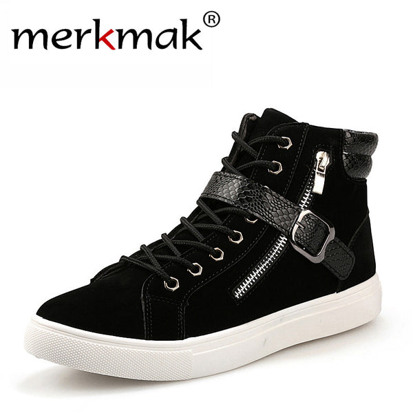Mens Stylish Mid Strap High Top Casual Sneakers