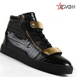 Mens Trendy Buckle Strap Croc Skin Sneakers