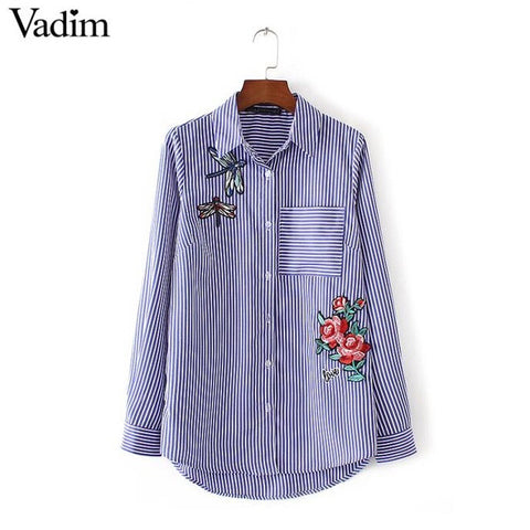 Womens Floral Dragonfly Embroidery Cotton Stripe Shirt 247 Fashion
