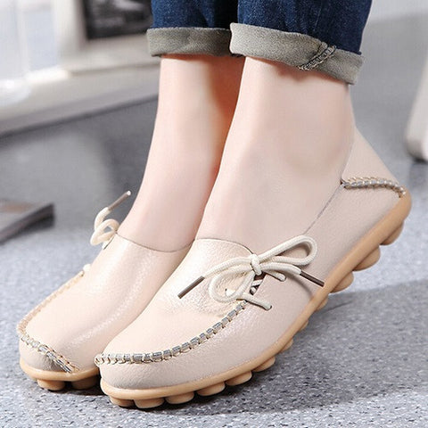 Large size leather Women shoes flats mother shoes girls lace-up fashion  casual shoes comfortable