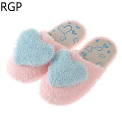 Winter Girls Home Slippers For Women Indoor Shoes Soft Cotton Warm House Shoes Plush Slippers With Bowtie Loafers Pantuflas