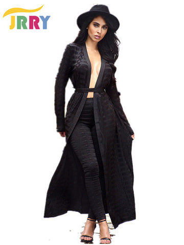 665c3c48b90 JRRY Fashion Two Pieces Black Cape Women Jumpsuit Long Sleeve Sashes Cloak  Top Long Pants Hollow
