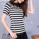 Womens Black White Stripe Knit Top Lace Shirt