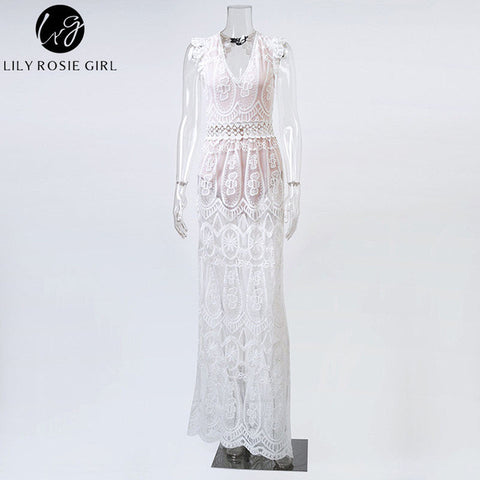 Womens Sexy Hollow White Lace High Waist Sleeveless Backless Dress