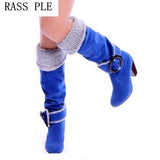 RASS PLE Buckle Knee High Riding Boots Shoes Flock Leather Round Toe Women Boots Chunky Heel Boots Shoes  Plus Size 4.5-10.5