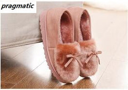 Winter Women House Slippers Soft Warm Fur Slippers Home Shoes Leathe Zapatillas Para Casa Invierno Mujer Chaussons femme Pantufa