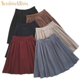 2017 new brand girls skirts pleated schoolgirls skirt uniforms cos high waist solid pleated skirt female mid retro boot skirt