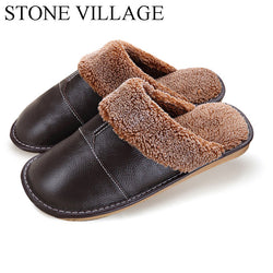 Mens Leisure Leather Warm Winter House Slippers