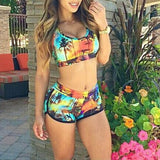Sexy Swimsuit Women's Crop Top High Waist Shorts Floral Bikini Beach Swimwear Beachwear New
