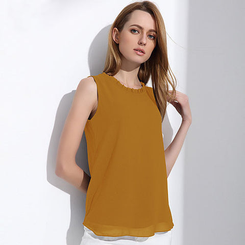 Womens Chiffon Blouse Summer Sleeveless Shirt Casual Top