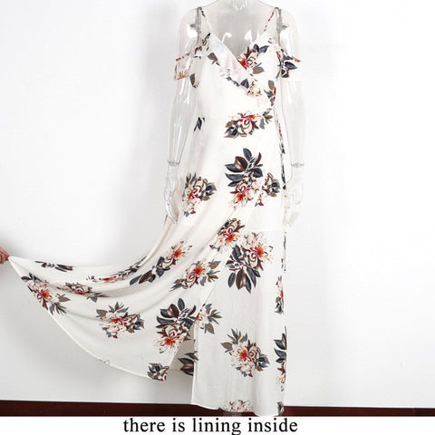 Womens Sexy Floral Print Ruffle Chiffon Maxi Split Summer Beach Dress