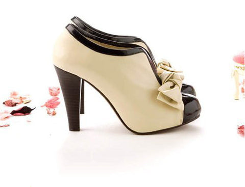 Women High Heel Shoes New Sexy Lady Beige Bow Vintage Bowknot Pumps  Platform Round Toe Ladies