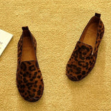 High Quality British Style Loafers Women Spring Autumn Shoes Fashion Womens Flats Soft Comfortable Plus Size 40 Leopard T243