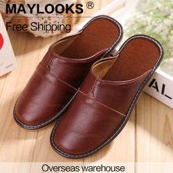 Mens Casual Leather Vintage Comfy House Slippers