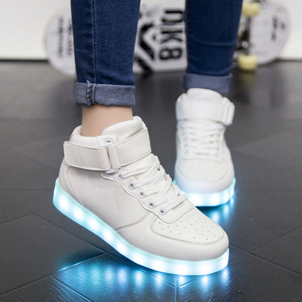 HGFS Women's Red White High Tops Shoes With Light Soles Female Led Lighted Shoes For Adults Men Woman Neon Tenis Led Casual shoe