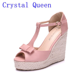 a1b6ca87515e56 Crystal Queen Women Sandals Wedges Shoes Platform High Heels Sandals T Belt Women  Sandals Hemp Rope