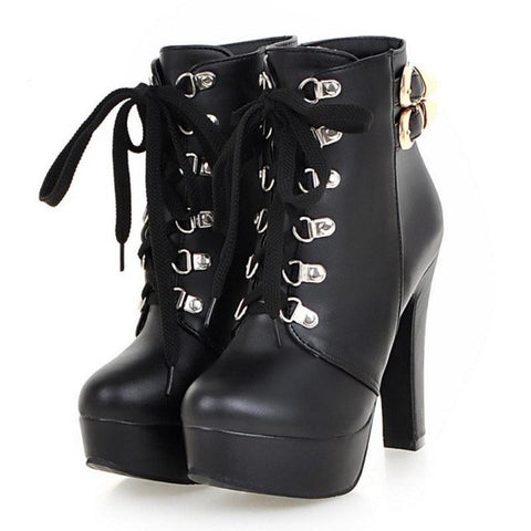 Autumn Winter Women Round Toe Ankle Boots High Heels Lace Up Shoes Double Buckle Platform Short Martin Booties Size 33-43