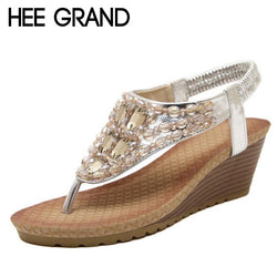 71394c8b45e7 HEE GRAND Summer Wedges Sandals With Rhinestone Crystal Bling Flip Flops  Fashion Platform Wedge Shoes Woman