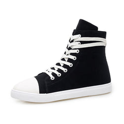 Mens Retro High Top Lace Up Canvas Sneakers