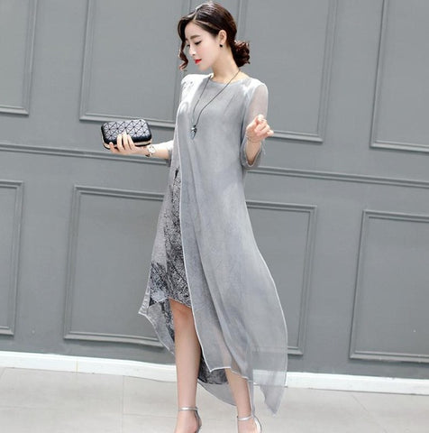 Womens Casual Elegant Cotton Irregular Retro Dress