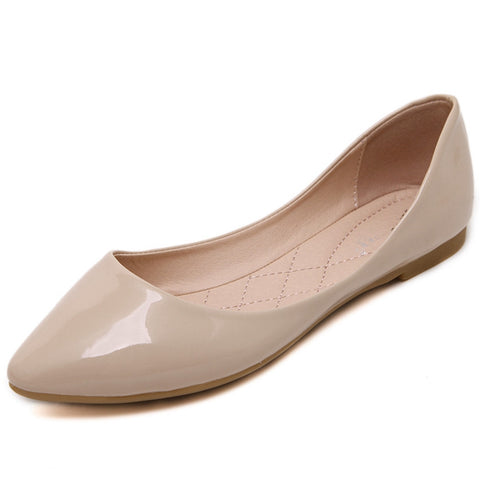 Women Fashion Pointed Toe Patent Leather Slip On Ballet Flats Comfortable Shoes Woman Mak3024-1