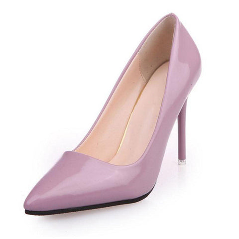 40086f9b429f ... Lady Sexy High Heel Shoes Women Patent Leather Heels Pumps Pointed Toe  Office Club Party Wedding ...