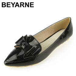 BEYARNE spring flats single shoes woman casual bow pointed toe shallow mouth by factory EU 33-43