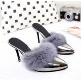 New Fashion 2017 Summer Shoes Sexy High Heels Women Soft Fur 9.5cm Ultra Heels Womens Pumps Party Pointed toe Brand Shoes Y068