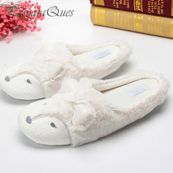 Warm Winter Home Slippers Women House Shoes For Bedroom Indoor Adult Guest Warm Winter Soft Bottom Flats Cute Fox Pattern Flats