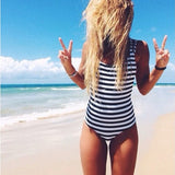 2017 Swimwear Women One Piece Swimsuit vintage White Black Navy Striped Padded Strap Monokini Sexy High Cut Backless Biquini