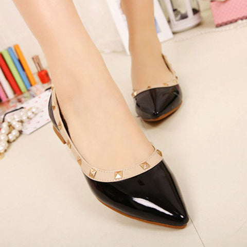 BEYARNE New Fashion Casual Women Pointed Toe Rivet Flat Bottom Shoes Women Slip On Valentine Flats Candy Color Zapatos Mujer