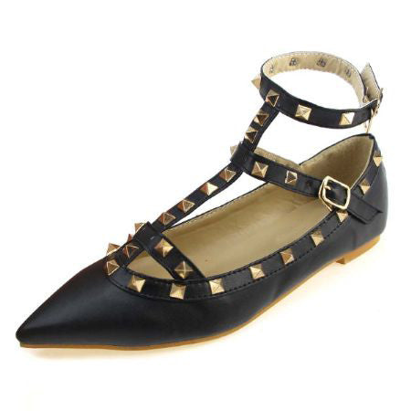 BEYARNE Women's Pointed Toe Buckle Sandals Metal Rivet Studded Comfy Flats Thin Shoes