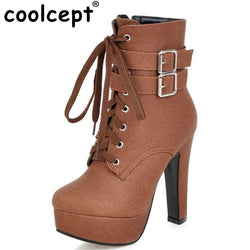 21d59fc755fe NEW Fashion Women Boots 2017 High Heels Ankle Boots Platform Shoes Brand Women  Shoes Autumn Winter