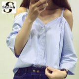 Womens Sweet Slash Stripe Sexy Cold Shoulder Shirt