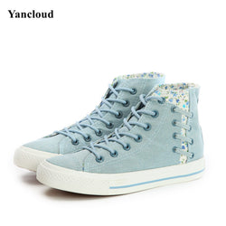 Fashion Spring Autumn High Top Platform Denim Shoes for Women Breathable Lace up Floral Canvas Shoes Women Casual Shoes N130