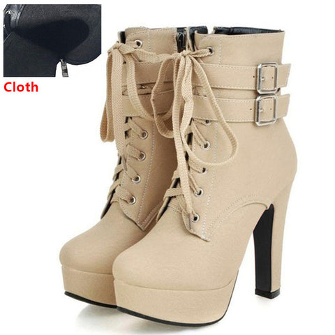 NEW Fashion Women Boots 2017 High Heels Ankle Boots Platform Shoes Brand Women Shoes Autumn Winter Botas Mujer Size 30-48