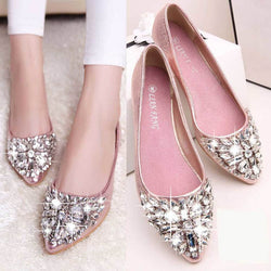 Summer Women Ballet Princess Shoes Glitter Rhinestone Crystal Pointed Toe Women Flat Shoes Solid PU Leather Slip On Shoes