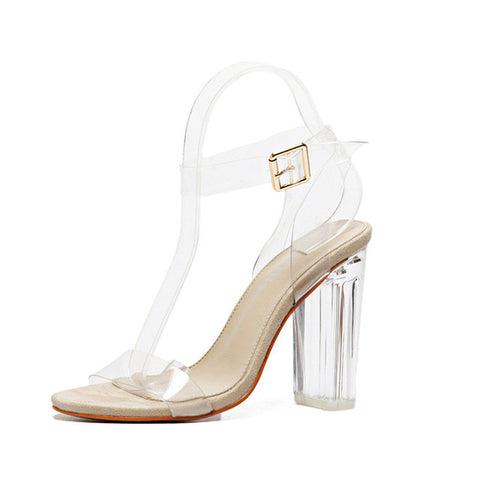2017 New Hot  Summer Casual  High Heels Sandals Dress Wedding  Simple PVC  Transparent Strappy Buckle  High Heels Shoes Woman