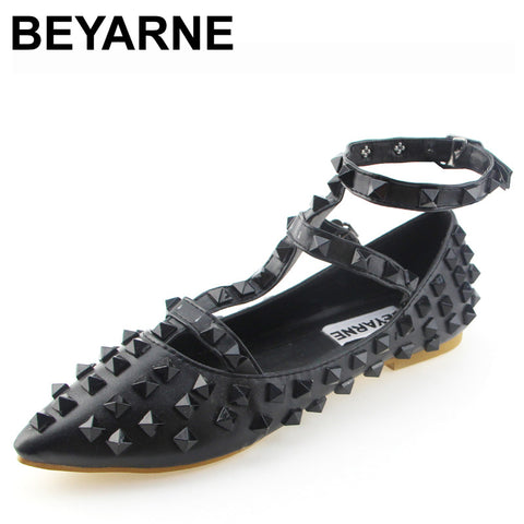 BEYARNE Fashion Women Shoes Rivets Flats Shoes  Leather Metal Ankle Strap Pointed Toe Shoes Studded Ballerinas size 33-43