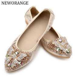 NEWORANGE 2017 Luxury Rhinestone Ballet Flat Shoes Women Spring Autumn Butterfly Pointed Toe Golden Shoes Loafers Size 40 WFS740
