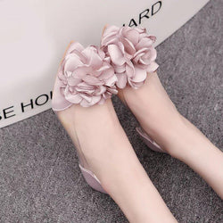 2017 new spring summer sweet women flats shoes  pointed toe big Appliques shoes for women cansual shoes flower Wedding shoes