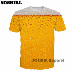 Mens Trendy Cool Beer Print Design T-Shirt